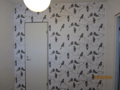 Yksi kuviollinen seinä huoneessa on riittävä katseenvangitsija.