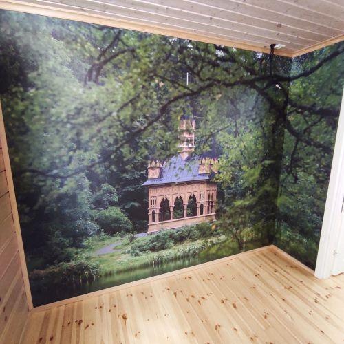 Petri Hirvan kuvasta teetetty valokuvatapetti valmiina seinällä.